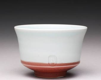 RESERVED handmade pottery tea bowl, ceramic chawan, porcelain tea cup with turquoise celadon and bright red glazes