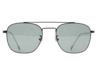 FRECCE TRICOLORI Vintage Black Sunglasses TITANIUM Italian Aviation G15 Lenses 52mm