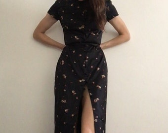 1990s Asian Floral Satin Button Front Dress XS