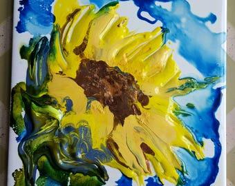 Abstract flowers, yellow floral, summer flowers, sunflower, yellow sunflower, yellow, purple, green, floral, abstract floral