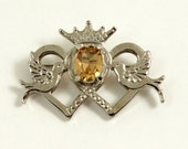 Vintage Luckenbooth Brooch Celtic Brooch Signed Scotland DB Hamish Dawson Bowman Scottish Brooch Crowned Double Heart Amber Crystal Birds