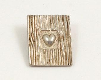 Sterling Silver Framed Heart Pendant 925 Silver Heart Pendant Modernist Pendant Heart Frame Pendant 70s Pendant Vintage Heart Necklace