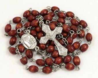 Vintage Rosewood Rosary Beads, Our Lady of Fatima