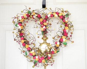 Pink, cream, yellow heart shaped wreath Kitchen Wreath Spring decor Heart wreath Spring Valentines Day Summer home decor Grapevine wreath