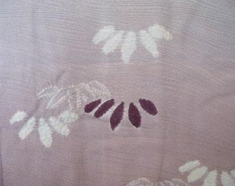 Vintage haori S419,  beige and purple rinzu silk
