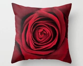 RED ROSE Throw Pillow, Flower Pillow, 16x16, 18x18, 20x20, Decorative Pillow, Drama, Cushion, Wedding Gift, Nature,Romantic, Love,Engagement
