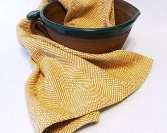 Handwoven Cotton/Linen Towel for Kitchen & Bath - Handtowel, Kitchen Towel, Handwoven Towel, Tea Towel, Breadcloth, Gold Towel (#16-28)