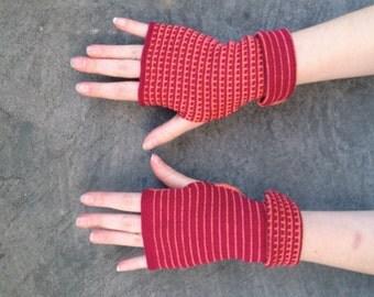 Arm Warmers Fingerless Gloves Fuchsia and Orange Mittens Merino Wool Striped Gloves Mitaines en Laine Merinowolle Armstulpen