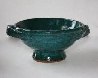 Berry Colander Deep Turquoise Hand Thrown Stoneware Holds over One Pint of Berries Good for Pasta for one person