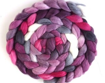 Organic Polwarth/Cultivated Silk Roving - Handpainted Spinning or Felting Fiber, Cold Blush