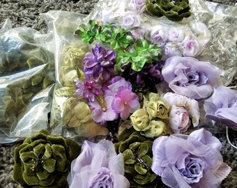 Greens Purples Lavenders Embellishments, Craft Roses, Destash Craft Lot, Lamp Shades