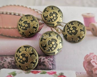 5 Retro Vintage Style Bronze Steampunk Floral Flower Rose Jacket Coat Sweater Metal Button 0.9 Inches / 2.4 cm