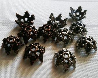 50 Small Victorian Beadcaps 10 mm x 6 mm Antique Copper or Antique Pewte