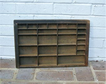 Antique Vintage Printers Wooden Tray Antique Vintage Printers Drawer Shadow Box Letterpress Tray 24 Sections