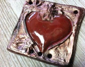 Wondrousstrange Raku Heart Pendant Copper Red Valentines Sweetheart