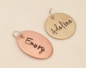 Hand Stamped Brass or Copper  Tag