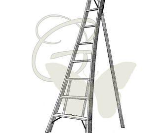Antique Ladder Image Transfer Digital Clip Art Illustration Craft Digital Download Printable