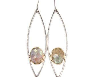 Labradorite Chandelier Petal Earrings, Handmade in Recycled 14k Gold, Labradorite Earrings, Libra Earrings