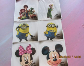Mickey and Minnie,Minions, BuzzLightyear, 6 Iron on Appliques, DIY,
