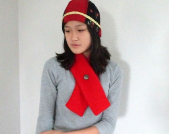 Red Lambswool Scarf -- Lusciously Warm and Gorgeous OOAK by The Bent Tree Gallery