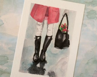 Print of Original Watercolour Boot Illustration Titled Black Boots and Pink Tulips