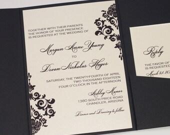 Damask Wedding Invitation | Elegant Wedding Invitation | Romantic Invitation | Ivory & Black Wedding Invite | Formal Event | Morgan Sample