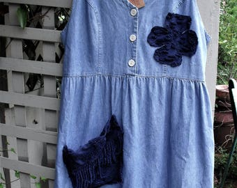 Denim and Chenille Dress/ M-L Blue Denim with Navy Chenille Deco/ Button Front Ruffle Hem/ Sheerfab Funwear