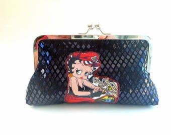 wallet clutch, Betty Boop wallet, rockabilly pinup bag, pinup clutch, biker chic, gift, rockabilly wedding, motorcycle bag, makeup bag