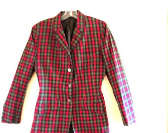 Genuine vintage 50s,  tartan poplin, hand made, horse riding, equestrian style, long jacket with a thin waist. Size 6.