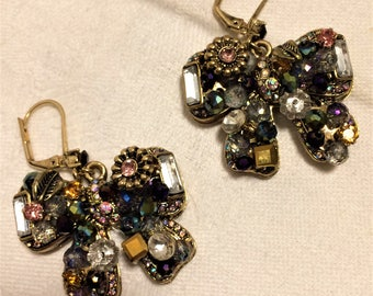Vintage Jeweled Bow or Butterfly Pierced Dangle Earrings. Multicolored Crystals and Rhinestones Completely Cover the Earring Fronts. (D14)