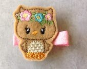Felt Embroidered Owl Hair Clip, Toddlers Hair Clips, Girls Hair Bows, Clippies, Felties, Clippies, Hair Bows, Owls, Woodland, Brown Owl