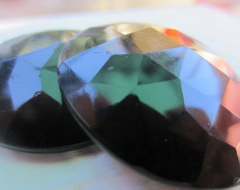 Vintage Buttons -  beautiful lot of 2 extra large matching Victorian jet black glass, faceted pressed design, (oct 207)