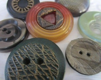 Vintage Buttons -7 assorted novelty green and neutral buttons, celluloid  1940-1950's( jan 126-17)