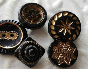 Vintage Buttons -  beautiful lot of 5 assorted etched  gold hand painted Victorian jet black glass, pressed designs, very old (feb 366 17)
