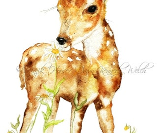 Deer Art,  Art Print, Wildlife Art, Fawn, Watercolor Print, Watercolor Painting, Deer Painting, Home Decor, Animal Art, Majik Horse
