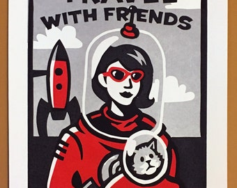 "Travel with Friends - 11""x14"" Linocut print Red & Silver Variant"