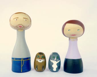 Custom Family Portrait of 4 Portrait Dolls children or pets - Personalized - FREE SHIPPING cats lovers white grey