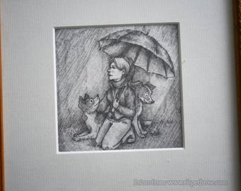 Rainy Day and I Mounted Print