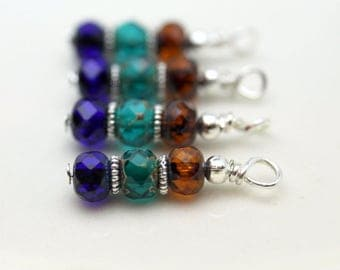 Blue Green and Brown Multicolored Czech Picasso Firepolished Bead Earring Dangle Charm Drop Set