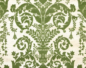 1970s Retro Vintage Wallpaper Green Flocked Damask Design on Gold by the Yard