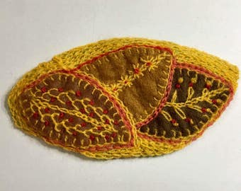 handmade embroidered leaf ornament patch applique  Christmas tree embroidered mary lozinak pink flamingo fall autumn leaves