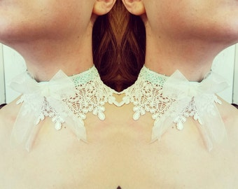Rococo Necklace Lace Choker Organza Bow- Victorian Steampunk- Hypoallergenic Pink, Blue or Mint Ribbon-Custom to Order