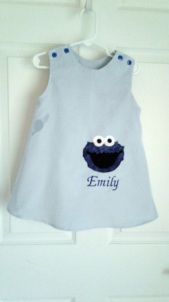 Cookie Monster Dress, Handmade dress, Applique Jumper, Toddler Dress, Baby Dress, Birthday Dress, Personalized Dress, Blue Jumper