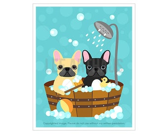 37D Dog Print - Bubble Bath with Two French Bulldogs Wall Art  - French Bulldog Print - Bathroom Art - Bath Print - Dog Art - Dog Decor