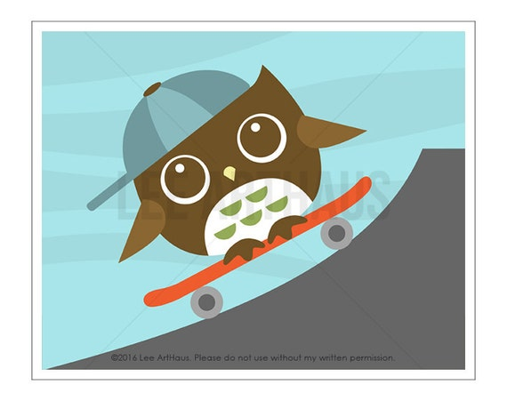 114A Owl Nursery Print - Owl on Skateboard Wall Art - Woodland Nursery Boy Decor - Boy Wall Art  - Skateboard Print - Baby Boy Nursery Art