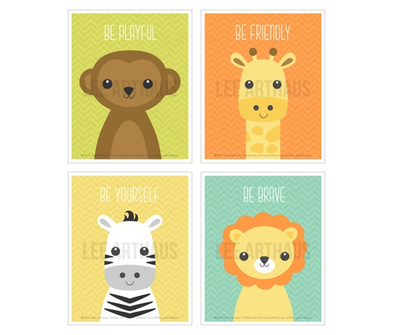 5S Animal Art - Zoo Animal Print Set - Lion Drawing - Zebra Print - Giraffe Illustration - Monkey Print - Zoo Nursery Theme - Jungle Art