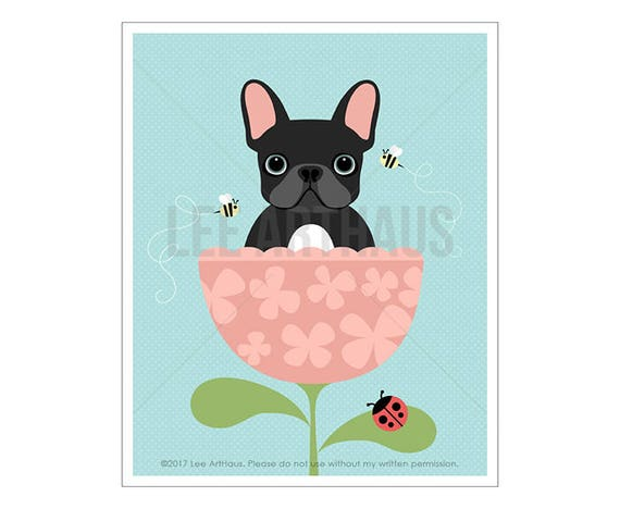 46D Dog Print - French Bulldog Sitting in Flower Wall Art - Dog Illustration - French Bulldog Wall Art - French Bulldog Print - Frenchie Art