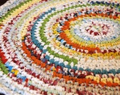 Bright and Super Fun Red, Orange, Yellow, Green, Blue, White Circular Handmade Crocheted Runner Rag Rug ~ Made From Repurposed Sheets