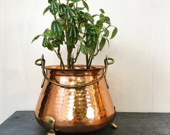 vintage copper footed pot with brass handle - French farmhouse - boho planter