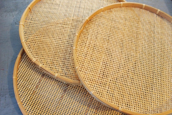 Large Round Bamboo Tray Wicker Serving Tray By